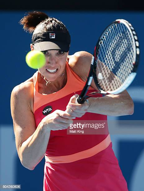Jelena Jankovic of Serbia plays a backhand in her match against CoCo Andeweghe of the United States during day one of the 2016 Sydney International...