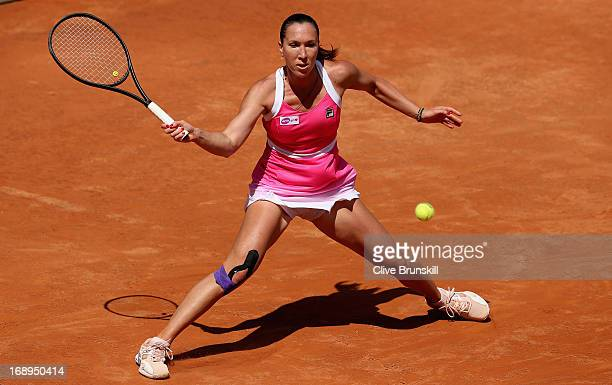 Jelena Jankovic of Serbia plays a forehand against Simona Halep of Romania in their quarter final round match during day six of the Internazionali...