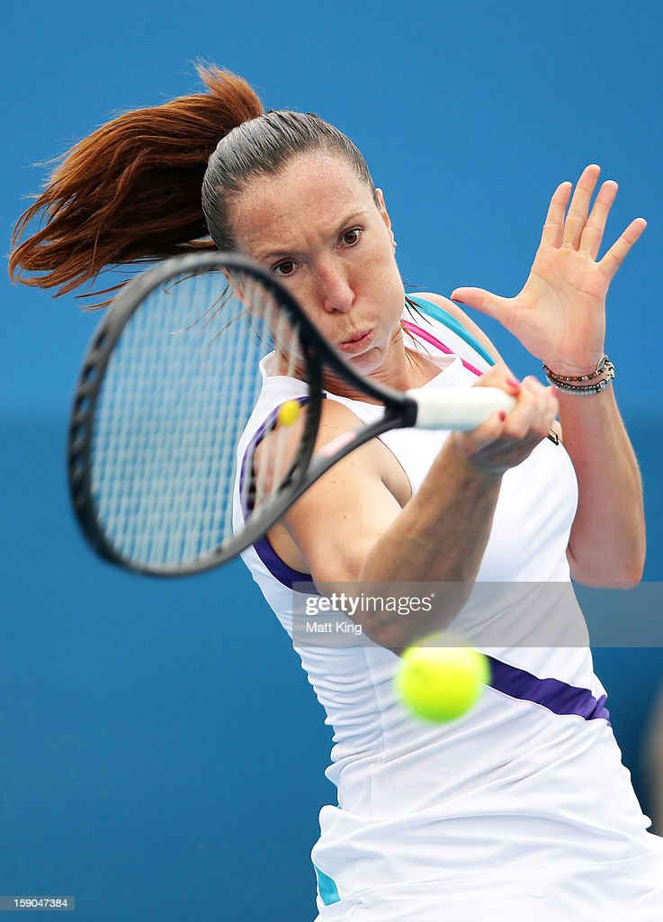 <a gi-track='captionPersonalityLinkClicked' href=/galleries/search?phrase=Jelena+Jankovic&family=editorial&specificpeople=217552 ng-click='$event.stopPropagation()'>Jelena Jankovic</a> of Serbia plays a forehand in her first round match against Tamira Paszek of Austria during day two of the Sydney International at Sydney Olympic Park Tennis Centre on January 7, 2013 in Sydney, Australia.
