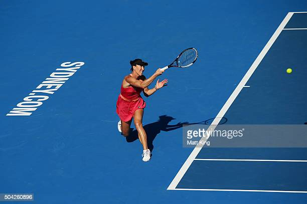 Jelena Jankovic of Serbia plays a forehand in her match against CoCo Andeweghe of the United States during day one of the 2016 Sydney International...