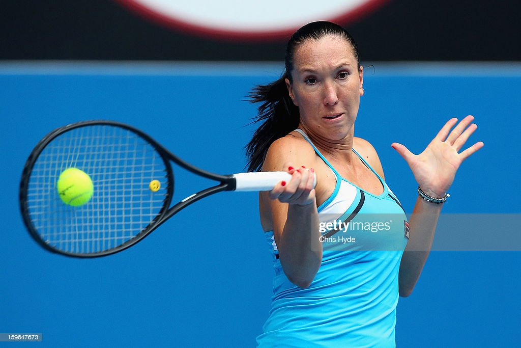 Jelena Jankovic of Serbia plays a forehand in her third round match against Ana Ivanovic of Serbia during day five of the 2013 Australian Open at Melbourne Park on January 18, 2013 in Melbourne, Australia.