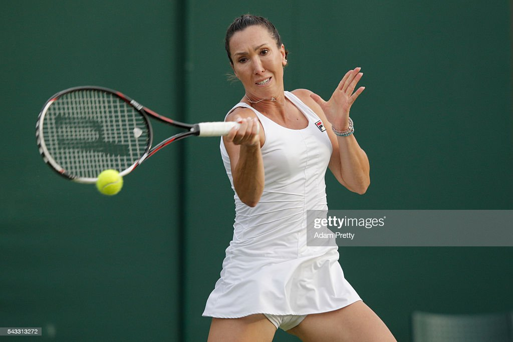 <a gi-track='captionPersonalityLinkClicked' href=/galleries/search?phrase=Jelena+Jankovic&family=editorial&specificpeople=217552 ng-click='$event.stopPropagation()'>Jelena Jankovic</a> of Serbia plays a forehand shot during the Men's Singles first round against Stefanie Voegele of Switzerland on day one of the Wimbledon Lawn Tennis Championships at the All England Lawn Tennis and Croquet Club on June 27th, 2016 in London, England.