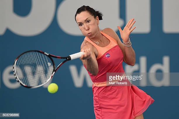 Jelena Jankovic of Serbia plays a forhand against Roberta Vinci of Italy during day two of the 2016 Brisbane International at Pat Rafter Arena on...