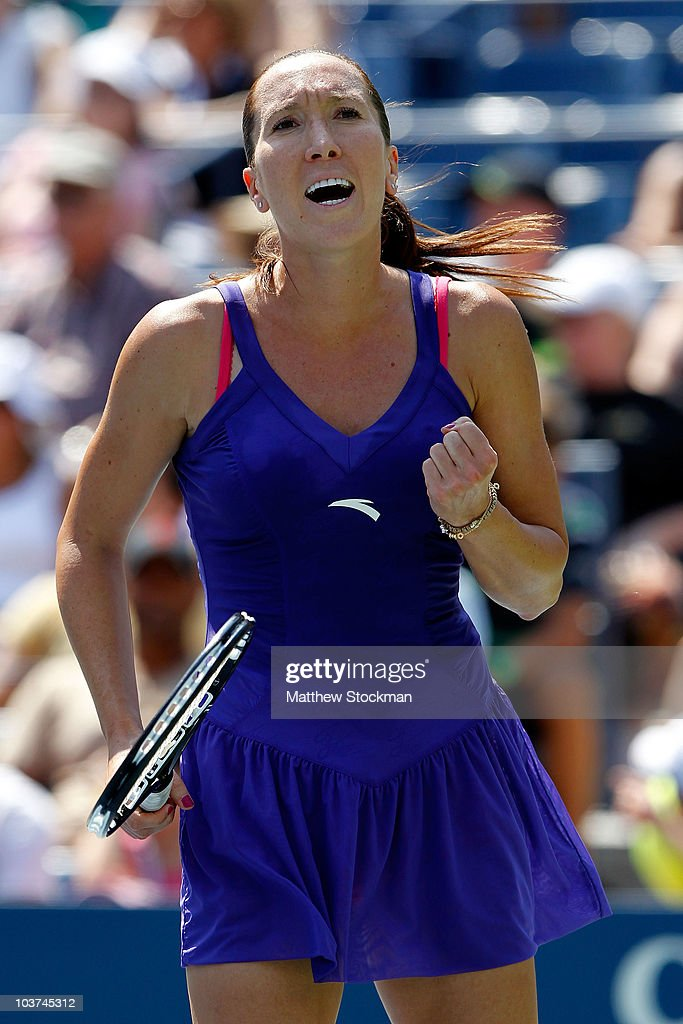 <a gi-track='captionPersonalityLinkClicked' href=/galleries/search?phrase=Jelena+Jankovic&family=editorial&specificpeople=217552 ng-click='$event.stopPropagation()'>Jelena Jankovic</a> of Serbia reacts after defeating Simona Halep of Romania during her first round women's single match on day two of the 2010 U.S. Open at the USTA Billie Jean King National Tennis Center on August 31, 2010 in the Flushing neighborhood of the Queens borough of New York City.