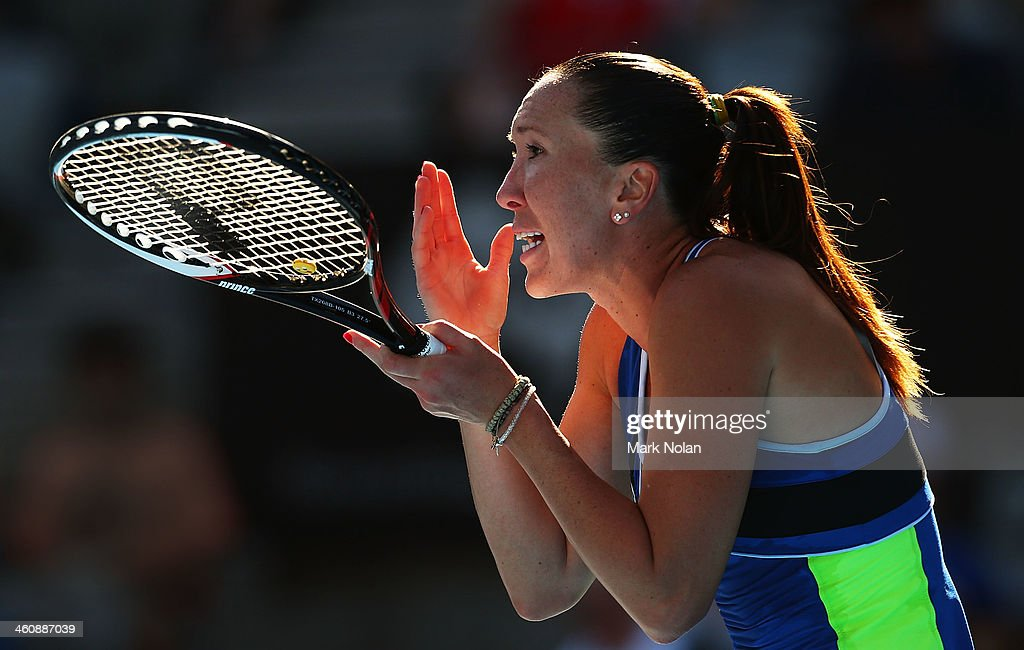 <a gi-track='captionPersonalityLinkClicked' href=/galleries/search?phrase=Jelena+Jankovic&family=editorial&specificpeople=217552 ng-click='$event.stopPropagation()'>Jelena Jankovic</a> of Serbia reacts after losing a point her match against Ekaterina Makarova of Russia during day two of the Sydney International at Sydney Olympic Park Tennis Centre on January 6, 2014 in Sydney, Australia.