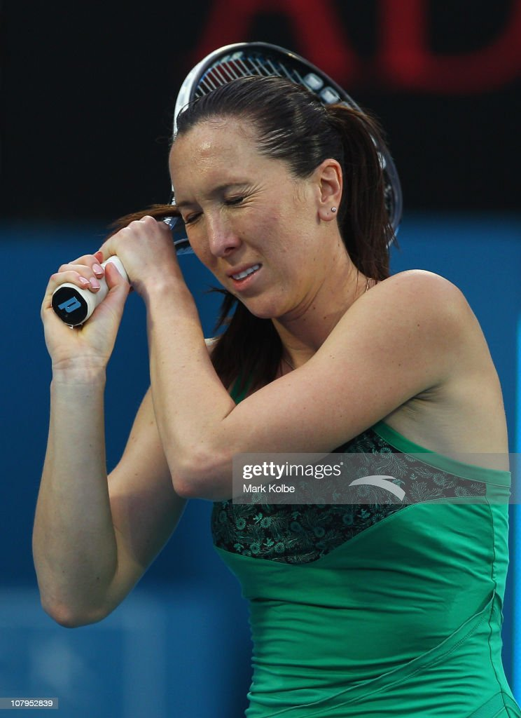 <a gi-track='captionPersonalityLinkClicked' href=/galleries/search?phrase=Jelena+Jankovic&family=editorial&specificpeople=217552 ng-click='$event.stopPropagation()'>Jelena Jankovic</a> of Serbia reacts after losing a point in her match against Aravane Rezai of France during day two of the 2011 Medibank International at Sydney Olympic Park Tennis Centre on January 10, 2011 in Sydney, Australia.