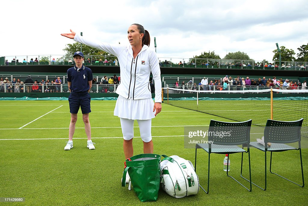 Jelena Jankovic of Serbia reacts as she prepares to leave the court following her victory in the Ladies' Singles first round match against Johanna Konta of Great Britain on day one of the Wimbledon Lawn Tennis Championships at the All England Lawn Tennis and Croquet Club on June 24, 2013 in London, England.