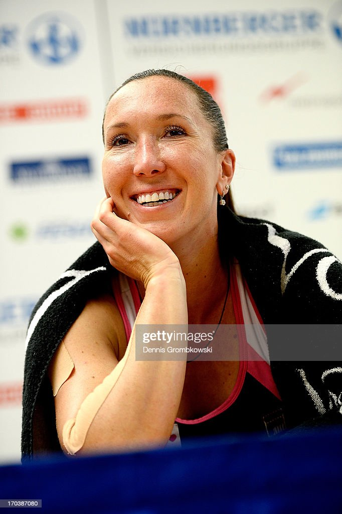 <a gi-track='captionPersonalityLinkClicked' href=/galleries/search?phrase=Jelena+Jankovic&family=editorial&specificpeople=217552 ng-click='$event.stopPropagation()'>Jelena Jankovic</a> of Serbia reacts during a press conference during day five of the Nuernberger Insurance Cup on June 12, 2013 in Nuremberg, Germany.