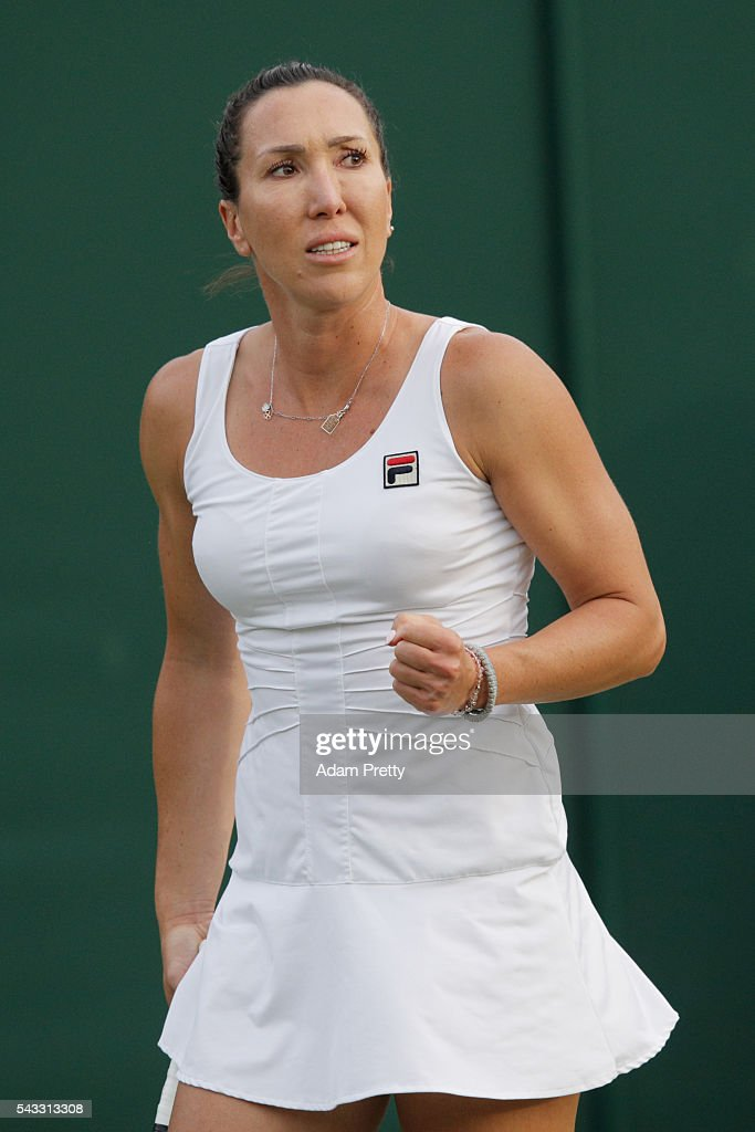 <a gi-track='captionPersonalityLinkClicked' href=/galleries/search?phrase=Jelena+Jankovic&family=editorial&specificpeople=217552 ng-click='$event.stopPropagation()'>Jelena Jankovic</a> of Serbia reacts during the Men's Singles first round against Stefanie Voegele of Switzerland on day one of the Wimbledon Lawn Tennis Championships at the All England Lawn Tennis and Croquet Club on June 27th, 2016 in London, England.