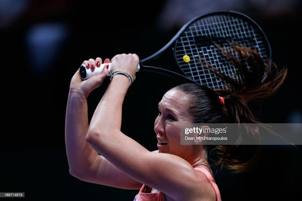 <a gi-track='captionPersonalityLinkClicked' href=/galleries/search?phrase=Jelena+Jankovic&family=editorial&specificpeople=217552 ng-click='$event.stopPropagation()'>Jelena Jankovic</a> of Serbia returns a backhand to Li Na of China during day three of the TEB BNP Paribas WTA Championships at the Sinan Erdem Dome October 24, 2013 in Istanbul, Turkey.