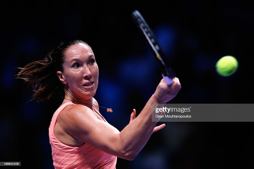 <a gi-track='captionPersonalityLinkClicked' href=/galleries/search?phrase=Jelena+Jankovic&family=editorial&specificpeople=217552 ng-click='$event.stopPropagation()'>Jelena Jankovic</a> of Serbia returns a forehand to Victoria Azarenka of Belarus during day two of the TEB BNP Paribas WTA Championships at the Sinan Erdem Dome October 23, 2013 in Istanbul, Turkey.