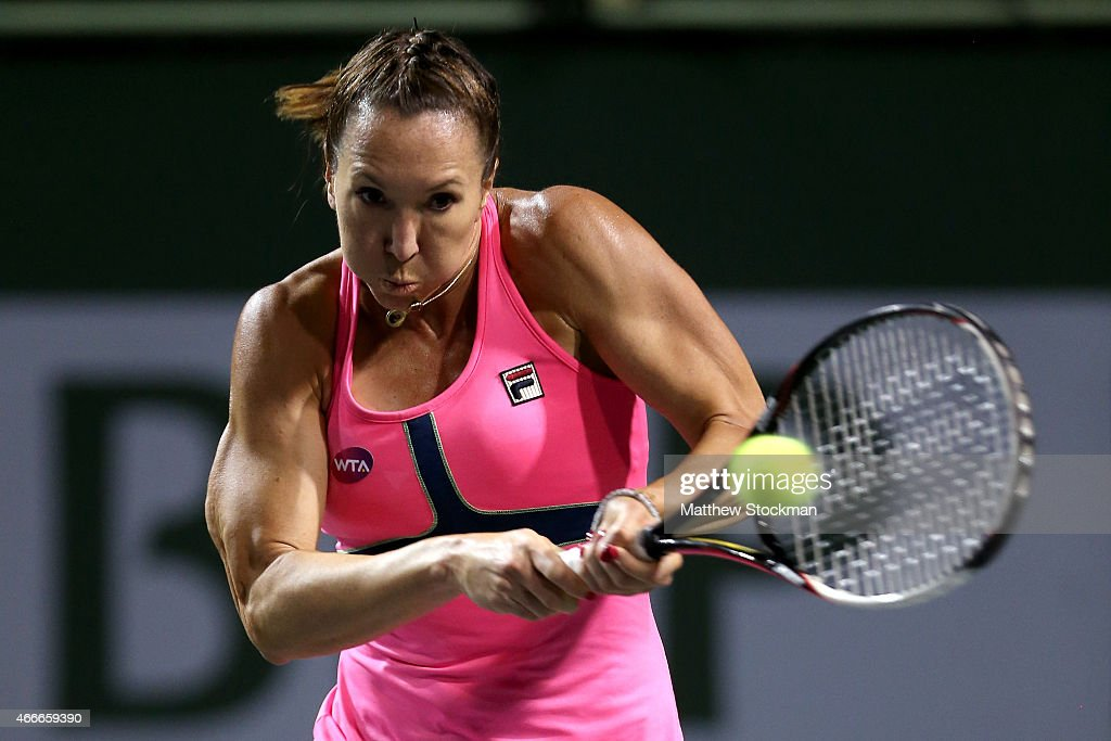 Jelena Jankovic of Serbia returns a shot to Belinda Bencic of Switzerland during day nine of the BNP Paribas Open at the Indian Wells Tennis Garden on March 17, 2015 in Indian Wells, California.