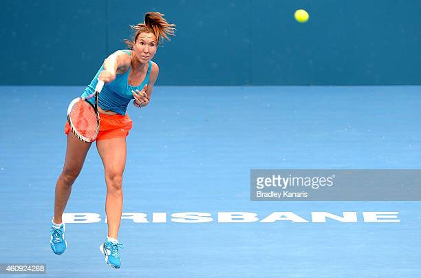 Jelena Jankovic of Serbia serves during a practice session ahead of the 2015 Brisbane International at Queensland Tennis Centre on December 31 2014...