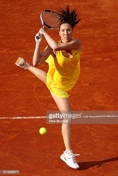 Jelena Jankovic of Serbia serves during the women's singles fourth round match between Jelena Jankovic of Serbia and Daniela Hantuchova of Slovakia...