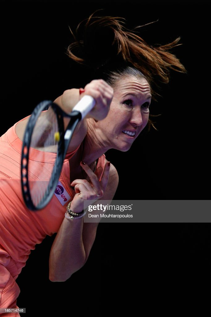 <a gi-track='captionPersonalityLinkClicked' href=/galleries/search?phrase=Jelena+Jankovic&family=editorial&specificpeople=217552 ng-click='$event.stopPropagation()'>Jelena Jankovic</a> of Serbia serves to Li Na of China during day three of the TEB BNP Paribas WTA Championships at the Sinan Erdem Dome October 24, 2013 in Istanbul, Turkey.