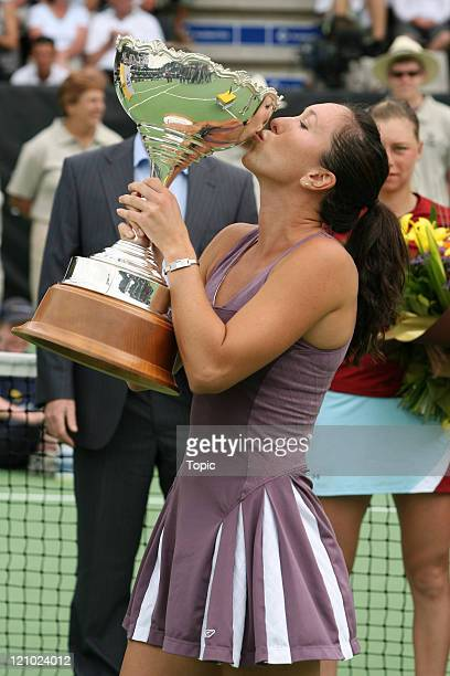 Jelena Jankovic winner of the ASB Classic 2007 after the finals between Jelena Jankovic and Vera Zvonareva at the ASB Tennis Centre in Auckland New...