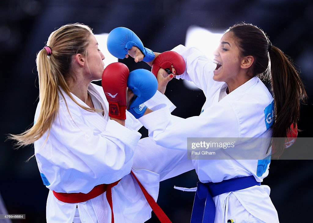Jelena Kovacevic of Croatia competes against Ilaha Gasimova of Azerbaijan in the Women's Kumite 55kg Elimination Round during day one of the Baku...