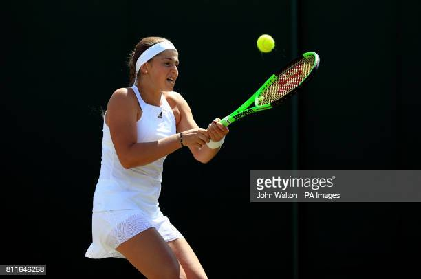 Jelena Ostapenko during her match against Elina Svitolina on day seven of the Wimbledon Championships at The All England Lawn Tennis and Croquet Club...
