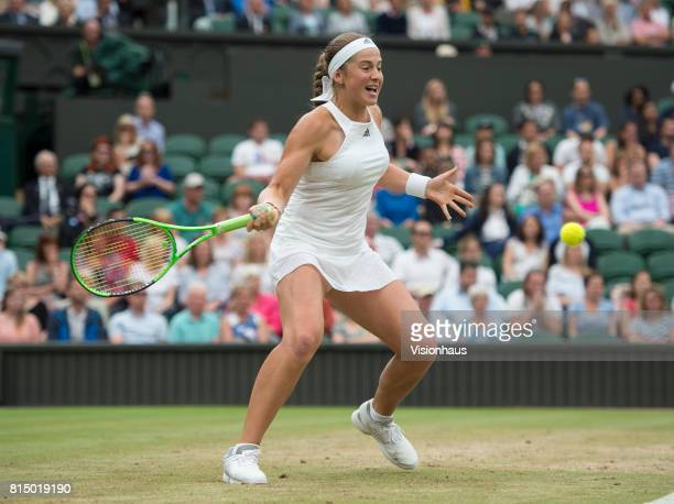 Jelena Ostapenko during her quarterfinal match against Venus Williams during day eight of the Wimbledon Lawn Tennis Championships at the All England...
