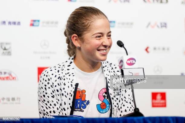 Jelena Ostapenko of Latvia attends the press conference after winning Women's singles quarterfinal match against Sorana Cirstea of Romania on day...