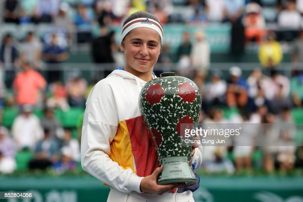 Jelena Ostapenko of Latvia celebrates after defeating Beatriz Haddad Maia of Brazil to win the final on final day of the KEB Hana Bank Incheon...