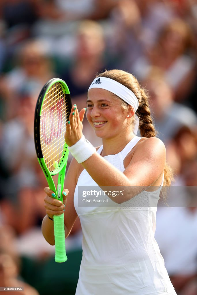 Jelena Ostapenko of Latvia celebrates during the Ladies Singles third round match against Camila Giorgi of Italy on day five of the Wimbledon Lawn Tennis Championships at the All England Lawn Tennis and Croquet Club on July 7, 2017 in London, England.