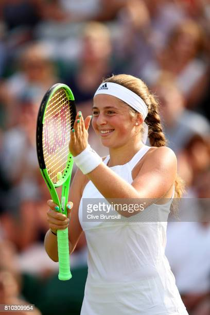Jelena Ostapenko of Latvia celebrates during the Ladies Singles third round match against Camila Giorgi of Italy on day five of the Wimbledon Lawn...