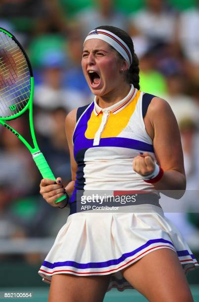 Jelena Ostapenko of Latvia celebrates her victory against Luksika Kumkhum of Thailand during their women's singles semifinal match at the WTA Korea...