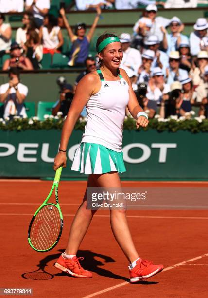 Jelena Ostapenko of Latvia celebrates victory during the ladies semi final match against Timea Bacsinszky of Switzerlandon day twelve of the 2017...