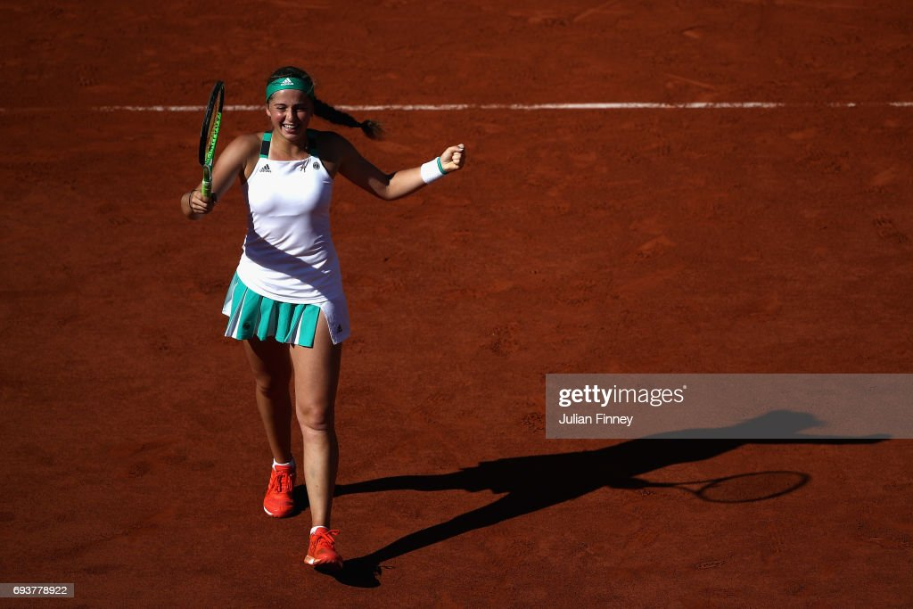 Jelena Ostapenko of Latvia celebrates victory following the ladies singles semi-final match against Timea Bacsinszky of Switzerland on day twelve of the 2017 French Open at Roland Garros on June 8, 2017 in Paris, France.