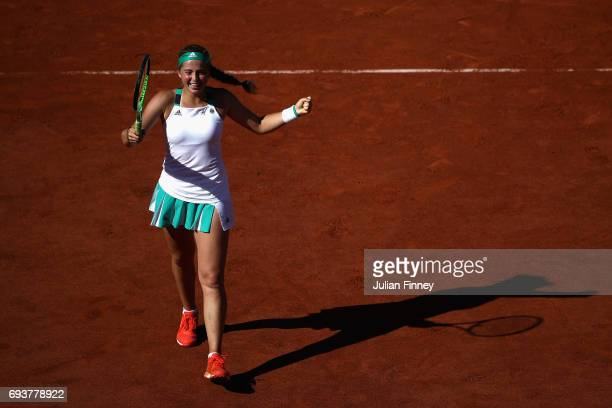 Jelena Ostapenko of Latvia celebrates victory following the ladies singles semifinal match against Timea Bacsinszky of Switzerland on day twelve of...