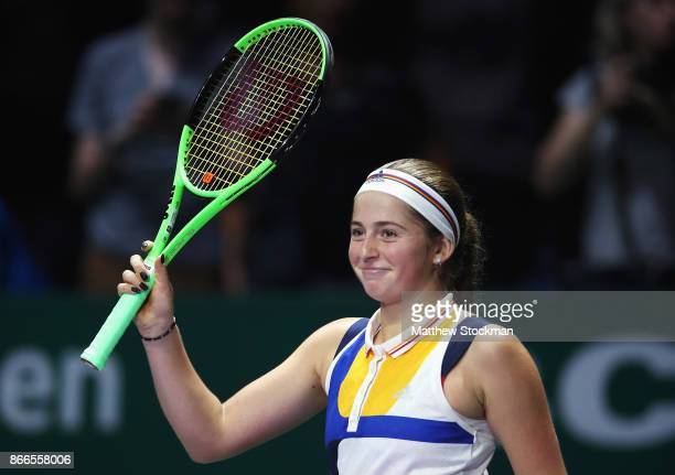 Jelena Ostapenko of Latvia celebrates victory in her singles match against Karolina Pliskova of Czech Republic during day 5 of the BNP Paribas WTA...