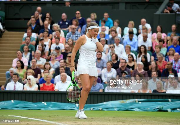 Jelena Ostapenko of Latvia gestures during a tennis match with Venus Williams of USA on day eight of the 2017 Wimbledon Championships at the All...