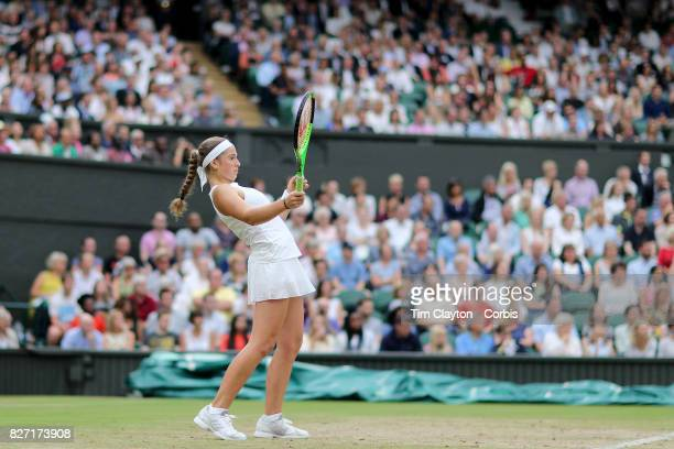 Jelena Ostapenko of Latvia in action against Venus Williams of the United States in the Ladies' Singles Quarter Final match on Center Court during...