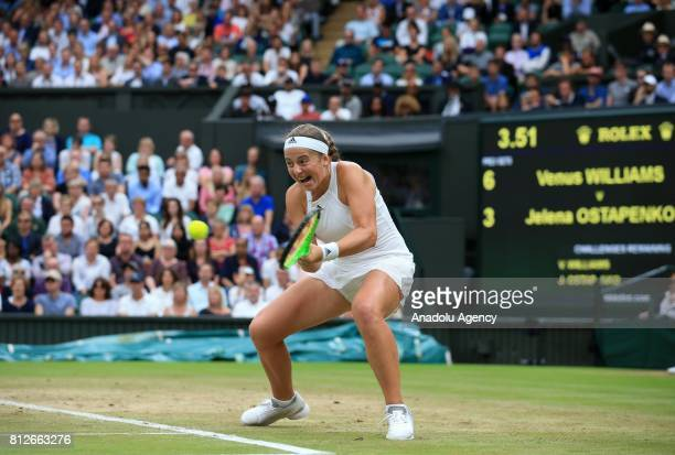 Jelena Ostapenko of Latvia in action against Venus Williams of USA on day eight of the 2017 Wimbledon Championships at the All England Lawn and...