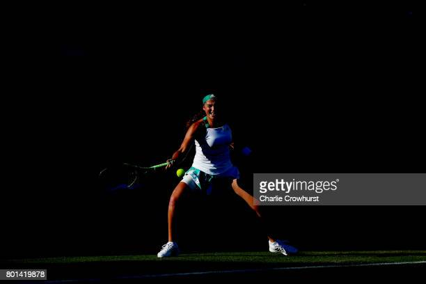Jelena Ostapenko of Latvia in action during her first round match against Carla Suarez Navarro of Spain during day two of the Aegon International...