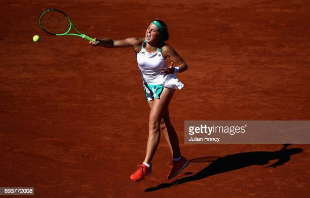 Jelena Ostapenko of Latvia plays a forehand during ladies singles semifinal match against Timea Bacsinszky of Switzerland on day twelve of the 2017...