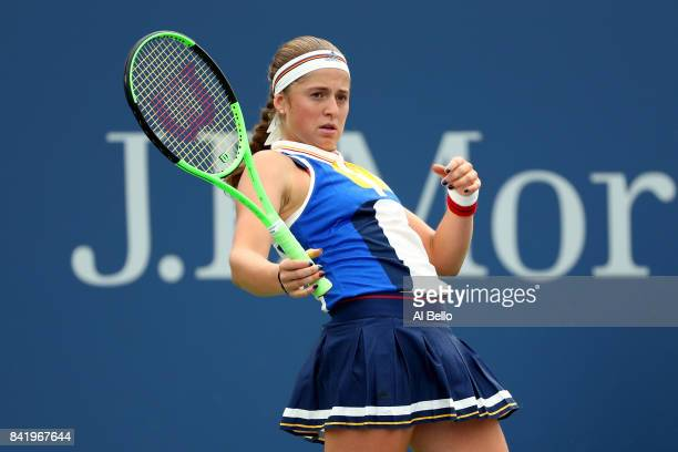 Jelena Ostapenko of Latvia reacts against Daria Kasatkina of Russia during their third round Women's Singles match on Day Six of the 2017 US Open at...