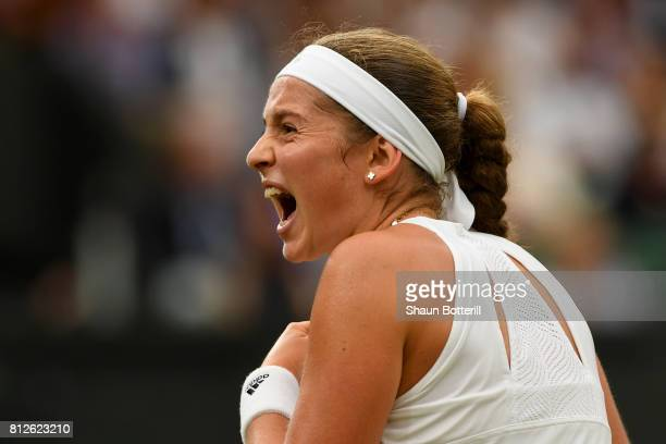 Jelena Ostapenko of Latvia reacts during the Ladies Singles quarter final match against Venus Williams of The United States on day eight of the...