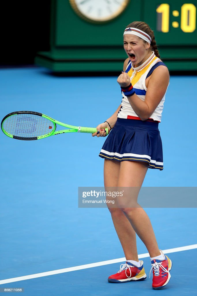 Jelena Ostapenko of Latvia reacts during the Women's Quarter finals match against Sorana Cirstea of Romania on day seven of the 2017 China Open at the China National Tennis Centre on October 6, 2017 in Beijing, China.