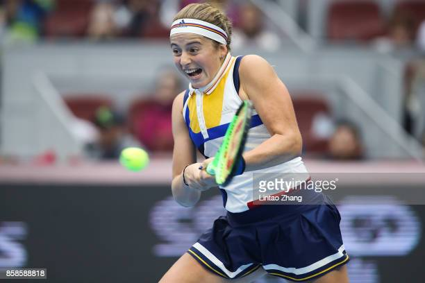 Jelena Ostapenko of Latvia returns a shot during the Women's Singles Semifinals match against Simona Halep of Romania on day eight of 2017 China Open...