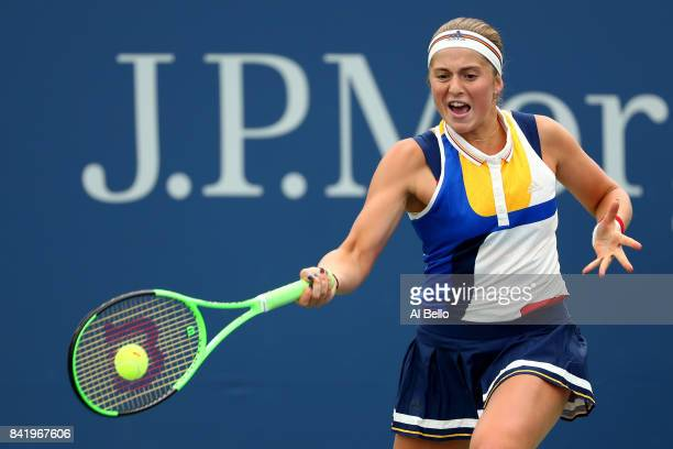 Jelena Ostapenko of Latvia returns a shot to Daria Kasatkina of Russia during their third round Women's Singles match on Day Six of the 2017 US Open...