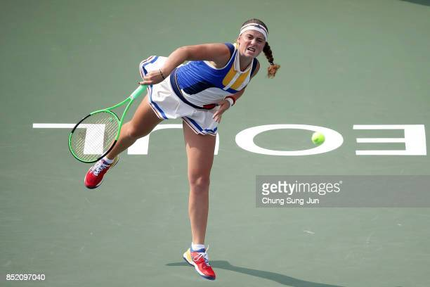 Jelena Ostapenko of Latvia serves to Luksika Kumkhum of Thailand during day six of the KEB Hana Bank Incheon Airport Korea Open at the Olympic Park...