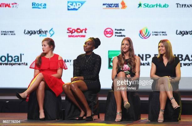 Jelena Ostapenko of Latvia Venus Williams of the United States Karolina Pliskova of Czech Republic and Simona Halep of Romania look on during the...