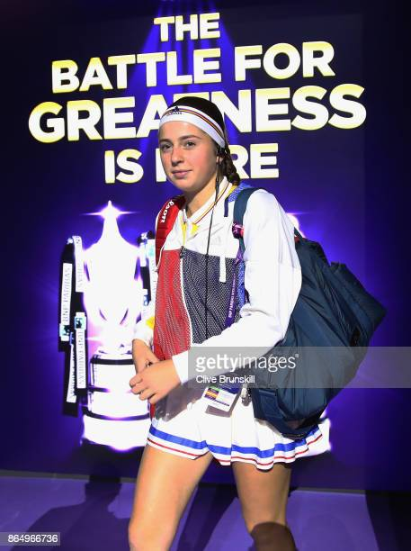 Jelena Ostapenko of Latvia walks out for the singles match against Garbine Muguruza of Spain during day 1 of the BNP Paribas WTA Finals Singapore...