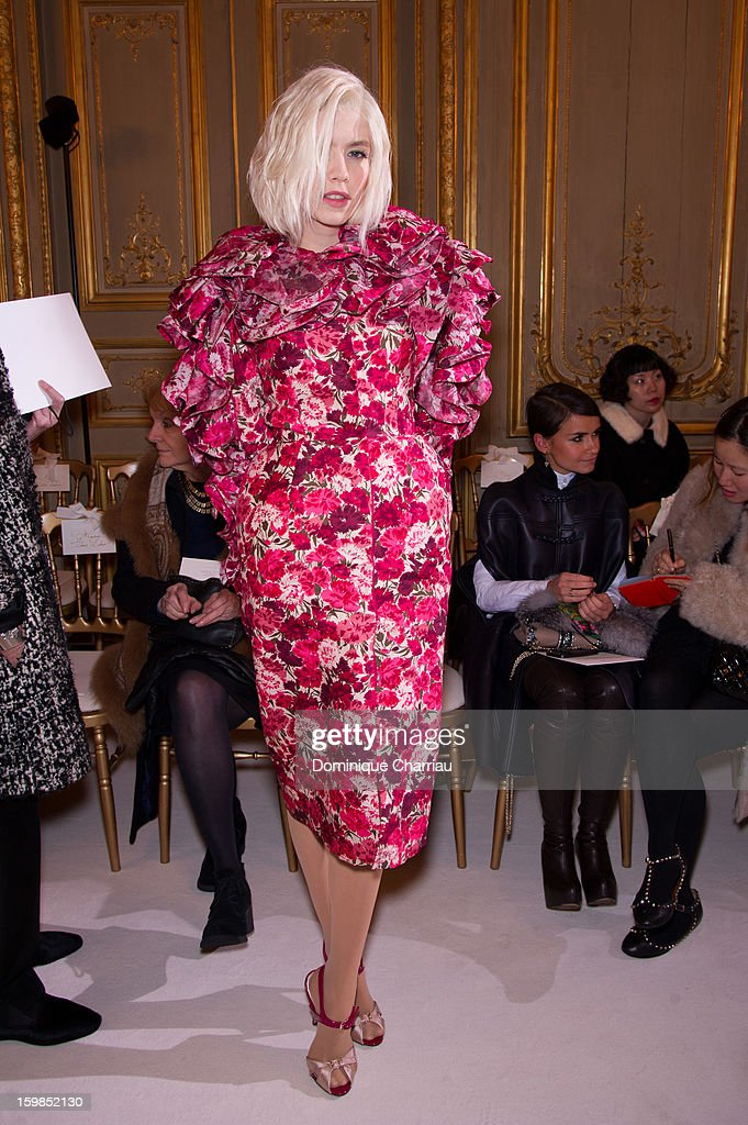 Jelena Perminova attends the Giambattista Valli Spring/Summer 2013 Haute-Couture show as part of Paris Fashion Week at on January 21, 2013 in Paris, France.
