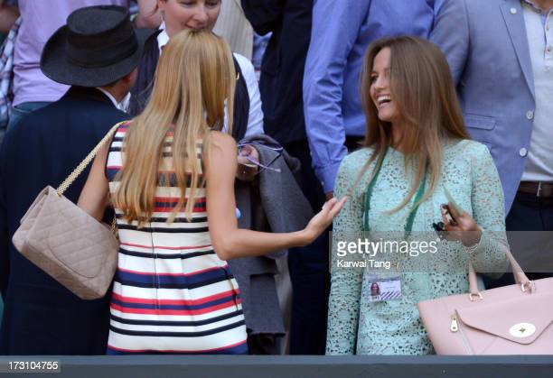 Jelena Ristic and Kim Sears attend the Men's Singles Final between their boyfriends Novak Djokovic and Andy Murray on Day 13 of the Wimbledon Lawn...
