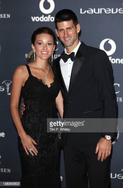 Jelena Ristic and Novak Djokovic arrive at the Laureus World Sports Awards 2012 at the Queen Elizabeth Hall on February 6 2012 in London England