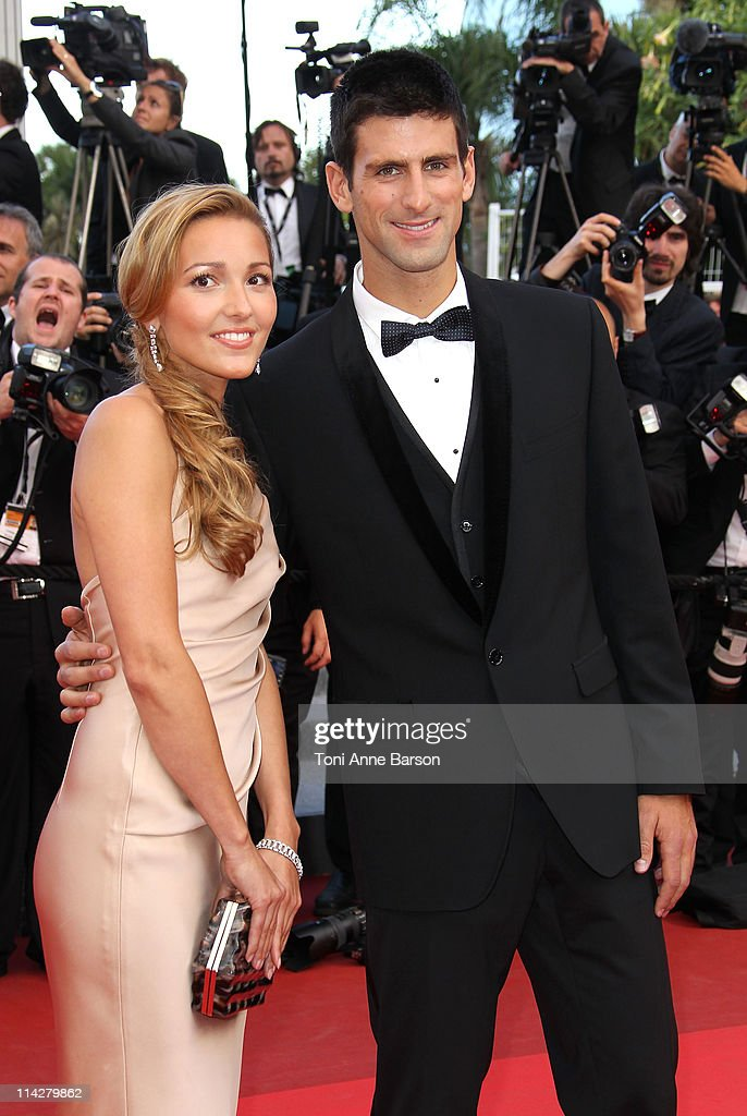 Jelena Ristic and Novak Djokovic attend 'The Beaver' Premiere during the 64th Cannes Film Festival at the Palais des Festivals on May 17 2011 in...