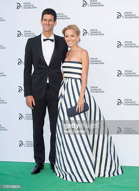 Jelena Ristic and Novak Djokovic attend the Novak Djokovic Foundation London gala dinner at The Roundhouse on July 8 2013 in London England